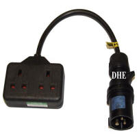 Hire 16amp to 2 WAY 13amp Adaptor